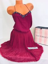 Victoria's Secret Burgundy Jeweled Straps Pleated Lounge Beach Cocktail Dress M