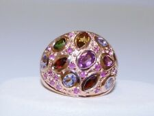 GENUINE! 2.42tcw Tanzanite, Tourmaline, Amethyst & Ruby Ring Solid S/Silver 925