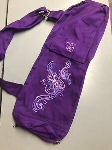 GAIAM  Yoga Mat Shoulder Bag with Outer Pocket Purple Cotton