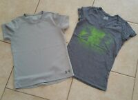 Lot of 2 Women's S/Girl's XL Under Armour Heatgear Semi Fitted Shirts Gray