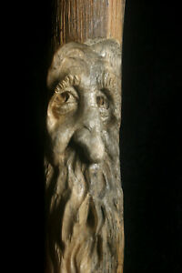 Hand Carved Wood Spirit Old Mountain Man Wizard Gandalf Gothic Sculpture Carving