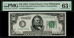 1928A $50 Federal Reserve Note Philadelphia - FR.2101-C - Graded PMG 63 EPQ