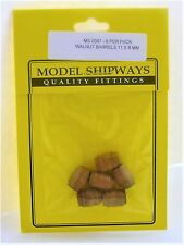 Model Shipways Fittings MS 0387 Walnut Barrels 7/16X5/16 (11X8MM). 6 Per Pack.