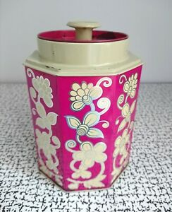 60s 70s Vintage Retro Kitsch Pink Tea Sweet Biscuit Tin Floral Flower Power MCM