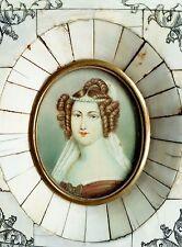 Miniatur Bildnis, Portrait einer jungen Frau, Gouache Bein, 19. Jahrhundert