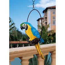 Medium Colorful Tropical Paradise Parrot Metal Hanging Ring Perch Bird Sculpture