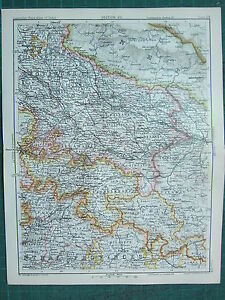 1893 INDIA EMPIRE MAP ~ INDIA SECTION VII ~ NORTH WEST PROVINCES OUDH