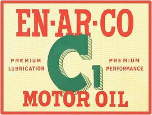 """EN-AR-CO C1 MOTOR OIL 9"""" x 12"""" Sign"""