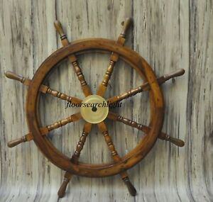 """Ship Steering Wheel Wooden 36"""" Vintage Pirate Boat Wall Decor Wood Brass Fishing"""