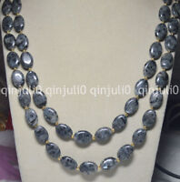 Natural 13x18mm Oval Black Gray Labradorite Gems Beads Necklace 54 inches JN727