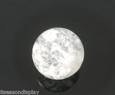 100 White Crackle Glass Round Beads 8mm Dia.