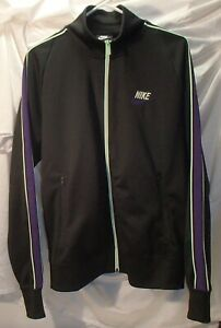 Nike Black Track Running Jacket Lime Green/Purple Accents Polyester Mens M New