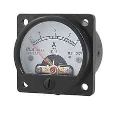 Class 2.5 Accuracy AC 0-5A Analog Panel Round Meter Ammeter Meter Black U3G R0V0