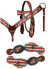 BLING! WESTERN SADDLE HORSE BRIDLE BREAST COLLAR SPUR STRAPS STARS AND STRIPES