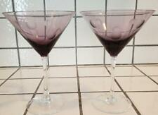 Pair Waterford Marquis Purple Cut Crystal Polka Dot Martini Cosmo Glasses