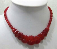 """Beautiful Natural Red Jade Gemstone Round&Coin Beads Necklace 18"""""""