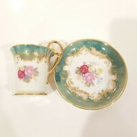 Antique KPM Porcelain Cup and Saucer Floral with Gold Trim Collectible
