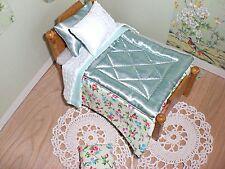 Miniature 1/12th scale dolls house BEDDING SET single bed green Eiderdown
