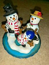 Yankee Candle Topper Frosty Snowman & The Mrs TEACH JUNIOR to Ice Skate ❤️tw4j