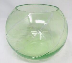 "Light Green Cut to Clear Crystal Rose Bowl 6"" Votive Tea Light"
