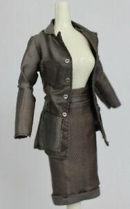 Grey Stripe Barbie Business Suit Top Pencil Reversible Skirt Outfit Fashion