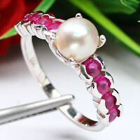 NATURAL 6 mm. WHITE PEARL & RED RUBY RING 925 STERLING SILVER