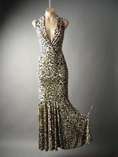 Leopard Celeb Celebrity Style Low-Cut Mermaid Fishtail Gown Long 154 ac Dress 3X