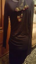 Venus Dress Ladies Black Long Sleeves Sz Gathering Slit On Side Stretch SEXY!