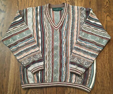 Vintage Tundra Sweater Large Great Pattern Cosby V Neck Coogi Style Biggie