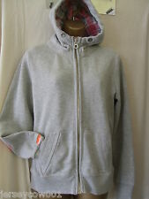 NEW £70 SUPERDRY BLACKCHECK LITE GREY HOODIE WITH  CHECKED HOOD LINING SIZE 14
