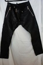Dsquared2 Black Leather Moto Mens Pants Size 54
