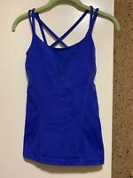 Lululemon Strappy Tank Top With Shelf Bra, Blue, Size 2  Mesh Openings