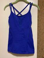 Lululemon Strappy Tank Top With Shelf Bra, Blue, Size 2 Mesh Openings
