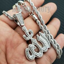 """Iced Hip Hop Silver PT Muslim Allah Pendant & 24"""" Rope Chain Fashion Necklace"""