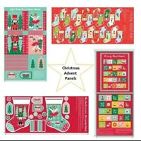 Christmas Fabric Advent Calendar Panels, Stockings or Gift Bags 100% Cotton