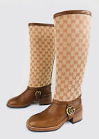 GUCCI Lola GG Supreme Guccissima Removable Gaiter Leather Bee Riding Boots 36