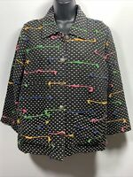 ANU Womans Button Up Long Sleeves Jacket Blazer Faded Look Black Dots Size Small