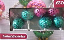 LED Lichterkette Kugeln pink/grün warmweiß mit Timer 10 LEDs
