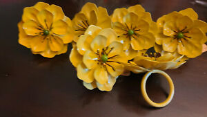NWT Set of 6 - Pier One - flower Napkin Rings Fall Autumn Floral Tableware