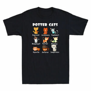 Gift Potter Harry Pawter T-Shirt Tee Cute Cats Humor Kitten Funny Halloween