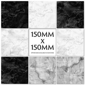 Marble Tile Stickers Decals Kitchen Transfers Black Grey 150mm or 100mm - M16