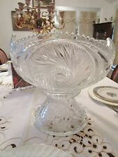 Antique EAPG  punch bowl with stand hobstars pattern[*]