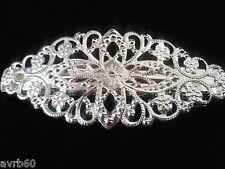 hair barette clip delicate ornate silver colour metal french clip 8 cm new