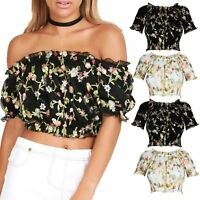 Womens Ladies Embroidery Floral Lace Cap Sleeve Off Shoulder Bardot Crop Top