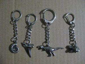 T-Rex, Shark's Tooth, Ammonite, T-Rex Head  -  Prehistoric Silver Pewter Keyring