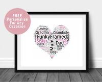 Personalised Heart Word Art Print BIrthday Wedding Anniversary Baby Shower Gift