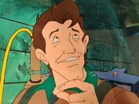 80s Real Ghostbusters Peter Venkman ANIMATION CEL & Painted Background with COA