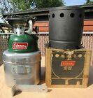 COLEMAN LANTERN & STOVE CO MODEL 502 STOVE (MADE7/81) W/ COOK KIT AND HEAT DRUM