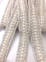 1Yard Ivory Pearl Beaded Daimonte Bridal Wedding  Applique Trim Edging Costume