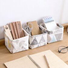 Foldable Storage Basket Printed Cosmetic Cotton And Linen Desktop Storage Bag